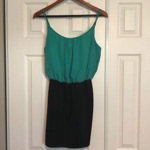 Greenish-blue and black party/club dress
